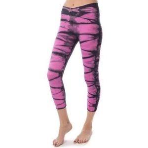 NUX Pink Tie-dye Flywheel crop leggings size